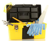 Abrir a caixa de ferramenta amarelo com ferramentas isoladas no fundo branco — Foto Stock