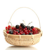 Ripe berries in basket isolated on white — Stock Photo