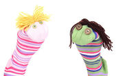Cute sock puppets isolated on white — Photo