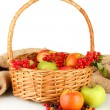 Crop of berries and fruits in a basket on white background close-up - Stock Photo