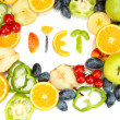Royalty-Free Stock Photo: The word Diet lined with pieces of fruits and vegetables isolated on white