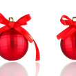 Stock Photo: Beautiful red Christmas balls isolated on white