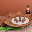 Aromatherapy setting on brown background — Stok fotoğraf
