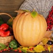 Excellent autumn still life with pumpkin on wooden table on wooden backgrou — Stock Photo #13731887