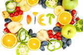 The word Diet lined with pieces of fruits and vegetables isolated on white — Stock Photo