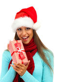 Beautiful young woman with gift, isolated on white — Stock Photo