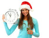美丽的年轻女子,与时钟和杯香槟,孤立在白色 — 图库照片