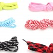 Colorful shoelaces isolated on white — Stock Photo