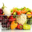 Fresh vegetables in metal  basket isolated on white — Stockfoto