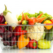 Fresh vegetables in metal  basket isolated on white — Стоковая фотография