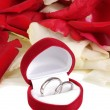 Beautiful box with wedding rings on red, white and pink rose petals backgro — Stock Photo