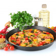 Colorful composition of delicious pizza, vegetables and spices on white bac — Stock Photo
