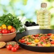 Colorful composition of delicious pizza, vegetables and spices on wooden ba — Stock Photo