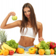 Beautiful young woman with fruits and vegetables, isolated on white — Stock Photo