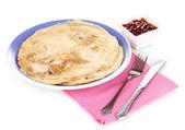 Stack of tasty pancakes isolated on white — Stock Photo