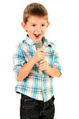 Funny little boy with microphone, isolated on white — Stock Photo