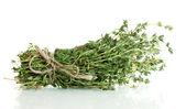Fresh green thyme isolated on white — Stock Photo
