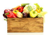 Fresh vegetables in wooden box isolated on white — Stock Photo