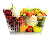 Fresh vegetables in metal basket isolated on white — Stock Photo