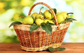 Juicy flavorful pears in basket of nature background — Stock Photo