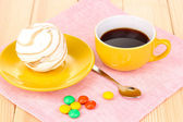 Easy marshmallow on wooden table — Stock Photo
