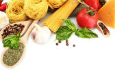 Pasta spaghetti, vegetables and spices, isolated on white — Stok fotoğraf