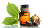 Medicine bottle with chestnuts and leaves, isolated on white — Fotografia Stock