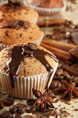 Tasty muffin cakes with chocolate, spices and coffee seeds, close up — Foto de Stock