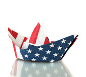 Ship of the American flag, isolated on white. Columbus Day. — Stock Photo