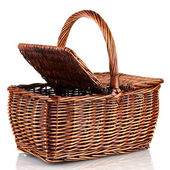 Picnic basket, isolated on white — Stock Photo