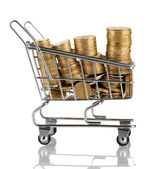 Shopping trolley with Ukrainian coins, isolated on white — Stock Photo