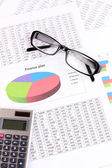 Documents, calculator and glasses close-up — Foto de Stock