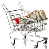 Shopping trolley with dollars, isolated on white — Stock Photo