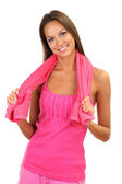 Young smiling woman with towel isolated on white — Stock Photo