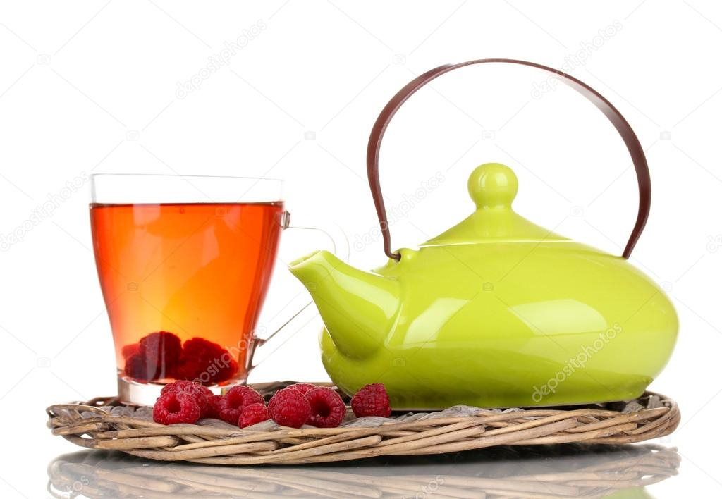 Tea with raspberries isolated on white  Stock Photo #13778196
