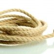Roll of rope with knot, isolated on white — Stock Photo