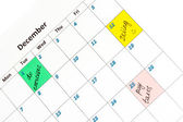 Notes on the calendar, close-up — Stock Photo