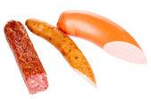 Tasty sausage isolated on white — Stock Photo