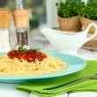 Stock Photo: Italispaghetti served in cafe