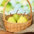 Ripe pears on colorful green background — Stock Photo #13806665