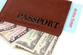 Passport and ticket close-up — Stock Photo