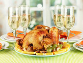 Banquet table with roasted chicken close-up. Thanksgiving Day — Stock Photo