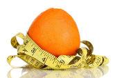 Orange with measuring tape isolated on white — Stock Photo