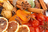 Dried fruits with cinnamon and star anise close-up — Stock Photo