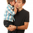 Portrait of dad and son isolated on white - Stock Photo