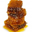 Sweet honeycombs with honey, isolated on white - Stock Photo