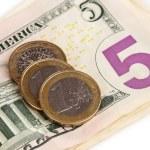 Dollar bills and coins close-up — Stock Photo #13847146