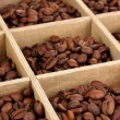 Coffee beans in wooden box close-up — Stock Photo #13847502