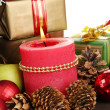 Royalty-Free Stock Photo: Composition from Christmas decorations close-up on wooden table on white ba