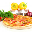 Tasty pepperoni pizza with vegetables on wooden board isolated on white — Stock Photo #13847880